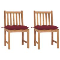 vidaXL Chaises de jardin 2 pcs avec coussins Bois de teck massif