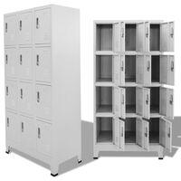 vidaXL Armoire à casiers avec 12 compartiments 90 x 45 x 180 cm Gris