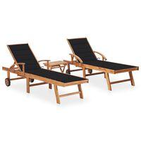 vidaXL Chaises longues 2 pcs avec table et coussin Bois de teck solide