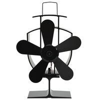 vidaXL Ventilateur de poêle alimenté par chaleur 5 pales Noir