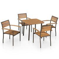 vidaXL Mobilier à dîner d'extérieur 9pcs Bois d'acacia solide et acier