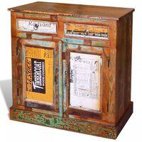 vidaXL Placard vintage avec 2 tiroirs 2 portes Bois massif récupéré