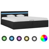 vidaXL Cadre de lit à stockage avec LED Gris foncé Tissu 180x200 cm