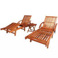 vidaXL Chaises longues 2 pcs avec table Bois d'acacia solide