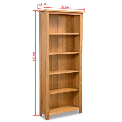 vidaXL Bibliothèque à 5 étagères 60x22,5x140 cm Bois de chêne massif