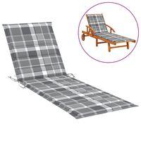 vidaXL Coussin de chaise longue Carreaux gris 200x70x4 cm Tissu