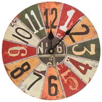 vidaXL Horloge murale Multicolore 30 cm MDF
