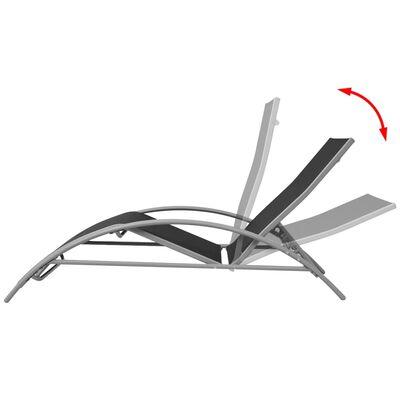 vidaXL Chaises longues en aluminium noir