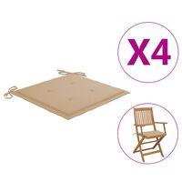 vidaXL Coussins de chaise de jardin 4 pcs Beige 40x40x4 cm