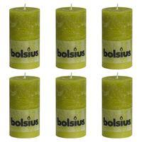 Bolsius Bougies pilier rustiques 6 pcs 130 x 68 mm Vert mousse
