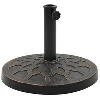 vidaXL Socle rond de parasol Polyrésine 13 kg Bronze