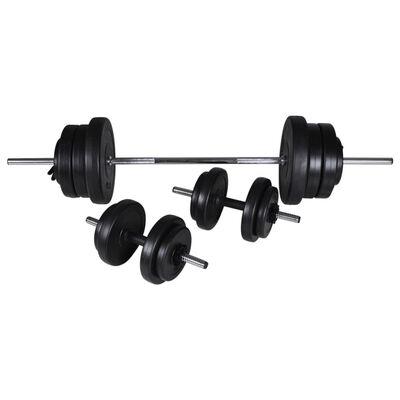 vidaXL Banc d'entraînement réglable avec jeu d'haltères 60,5 kg