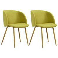 vidaXL Chaises de salle à manger 2 pcs Vert Tissu