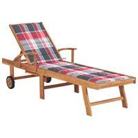 vidaXL Chaise longue avec coussin à carreaux rouge Bois de teck solide