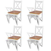 vidaXL Chaises de salle à manger 4 pcs Blanc Bois de pin