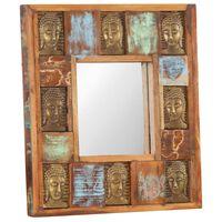 vidaXL Miroir avec revêtement Bouddha 50x50 cm Bois de récupération