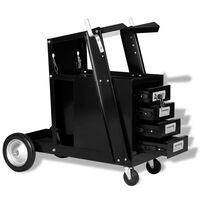 vidaXL Chariot de soudage avec 4 tiroirs Noir