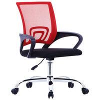 vidaXL Chaise de bureau avec dossier en maille Rouge Tissu