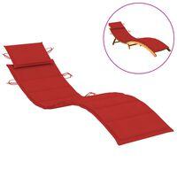 vidaXL Coussin de chaise longue Rouge 186x58x4 cm