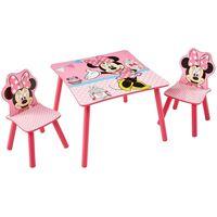 Disney Table Minnie Mouse avec 2 chaises 63x63x45 cm Rose WORL222013