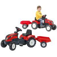 FALK Tracteur à chevaucher avec remorque Case Rouge
