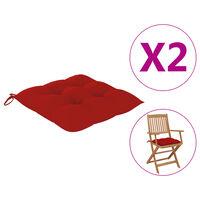 vidaXL Coussins de chaise 2 pcs Rouge 40x40x7 cm Tissu
