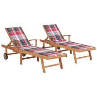 vidaXL Chaises longues 2 pcs avec coussin carreaux rouge Teck solide