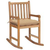 vidaXL Chaise à bascule avec coussin beige Bois de teck solide