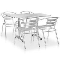 vidaXL Mobilier à dîner d'extérieur 5 pcs Aluminium Argenté