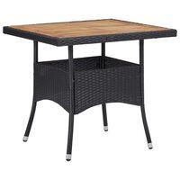 vidaXL Table d'extérieur Noir Résine tressée et bois d'acacia solide