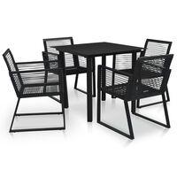 vidaXL Mobilier à dîner d'extérieur 5 pcs Rotin PVC Noir