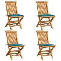 vidaXL Chaises de jardin avec coussins bleu 4 pcs Bois de teck massif