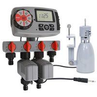 vidaXL Minuterie d'arrosage numérique 4 stations et capteur de pluie
