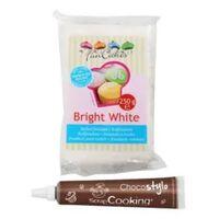 Pâte à sucre blanche 250 g + Stylo chocolat