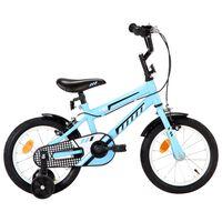 vidaXL Vélo pour enfants 14 pouces Noir et bleu