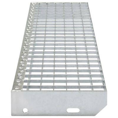 vidaXL Marches d'escalier 4 pcs Acier galvanisé pressé 600x240 mm,