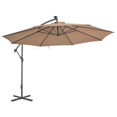 vidaXL Parasol en porte-à-faux avec poteau en aluminium 350 cm Taupe