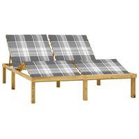 vidaXL Chaise longue double avec coussins Bois de pin imprégné