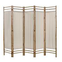 vidaXL Cloison de séparation pliable 5 panneaux Bambou et toile 200 cm
