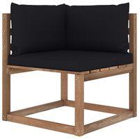 vidaXL Canapé d'angle palette de jardin avec coussins noir