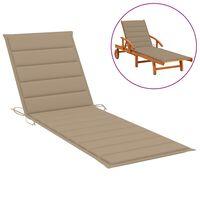 vidaXL Coussin de chaise longue Beige 200x70x4 cm Tissu