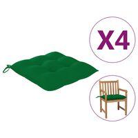 vidaXL Coussins de chaise 4 pcs Vert 50x50x7 cm Tissu