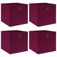vidaXL Boîtes de rangement 4 pcs Rouge foncé 32x32x32 cm Tissu