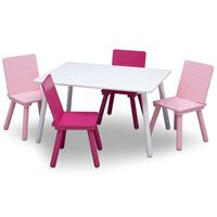 Delta Children Jeu de table et chaises pour enfants Blanc et rose
