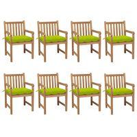 vidaXL Chaises de jardin 8 pcs avec coussins vert vif Teck solide