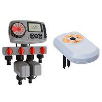 vidaXL Minuterie d'arrosage numérique 4 stations et capteur d'humidité