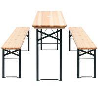 vidaXL Table de brasserie pliable avec 2 bancs 177 cm Bois de pin
