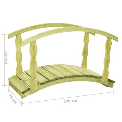 vidaXL Pont de jardin avec balustrade 170x74x105 cm Pin imprégné