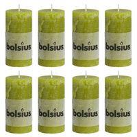 Bolsius Bougies pilier rustiques 8 pcs 100x50 mm Vert mousse
