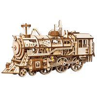 Robotime Train mécanique en bois Locomotive